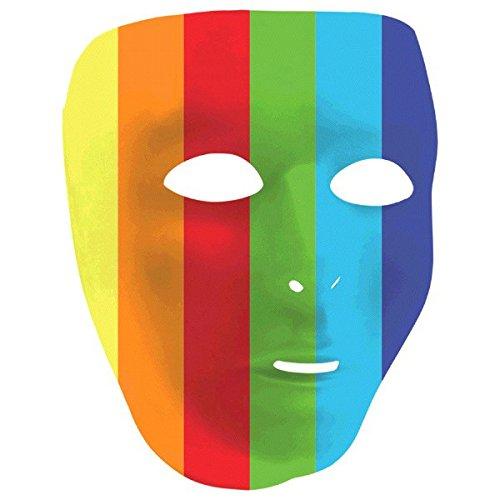 Amscan Party Perfect Team Spirit Rainbow Full Face Plastic Mask, Multi Color, 8.5 x (Rainbow Mask)
