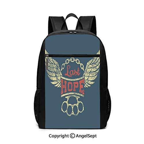 17 Inch Backpack School Bags,Grunge Label Wings Chain Brass Knuckles Last Hope Quote for Bikers,Slate Blue Red Light Yellow,6.5