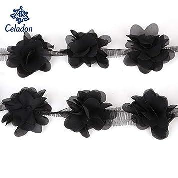 9d2db1f6b0cfe Amazon.com: 3D Flower Lace Applique Sewing Chiffon Flowers 24pcs ...