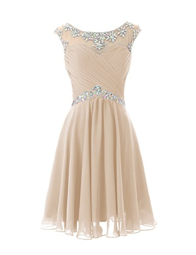 DRESSTELLS Short Prom Dresses Sexy Homecoming Dress Chiffon Birthday Party Dress Champagne Size 8