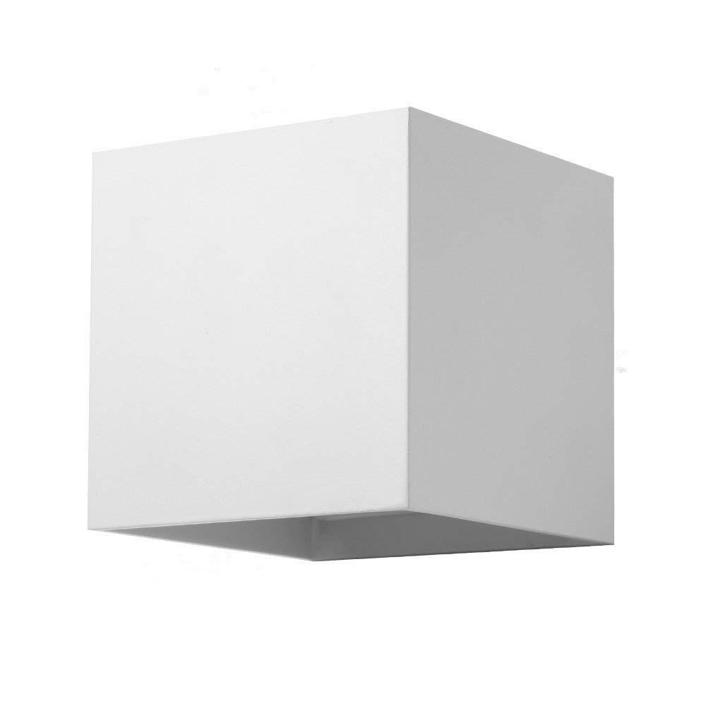 BOKT Minimalist Outdoor Patio Waterproof 6W LED Wall Light Sconces Aluminum Finish Adjustable Design for for Garden Home Decor Vanity Lighting Fixtures (White)