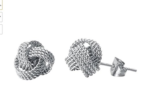 Women's Lady Twisted Love Knot Stud Earrings Four Rope Style