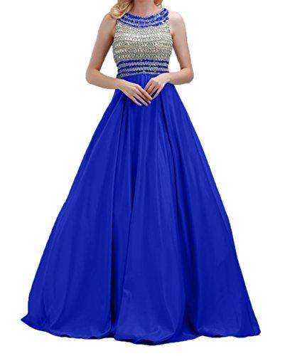 Steine Abschlussballkleider Abendkleider Lang Jugendweihe Charmant Kleider A Royal Blau Rock linie Partykleider Damen qOpx0E5Ewa