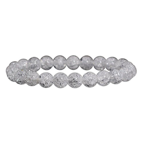 Natural Crackle Clear Quartz Handmade Gemstone 8mm Round Beads Elastic Bracelet 7