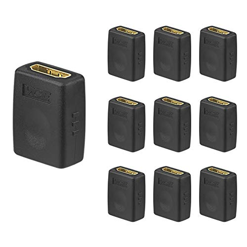 VCE (10 Pack) HDMI Female to Female Adapter Gold Plated High Speed HDMI Female Coupler 3D&4K Resolution ()