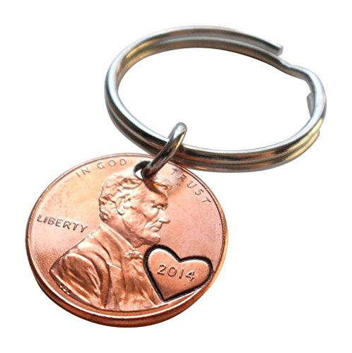 2014 Penny Keychain With Engraved Heart Around Year; 5 year Anniversary Gift