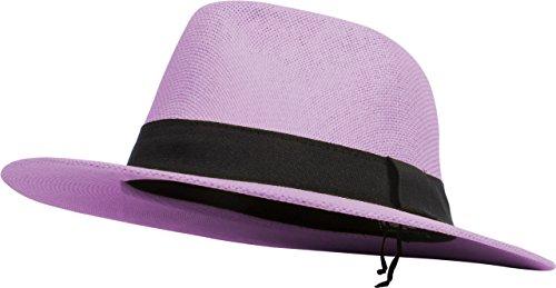 (DRY77 Cool Straw Panama Hat Wide Large Flat Brim Fedora Outback Men Women Beach (Lavender))