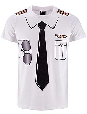 Funny World Men's Pilot Uniform Costume T-Shirts