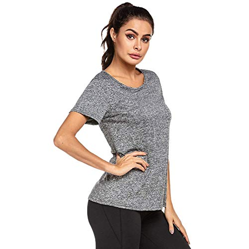 Damen atmungsaktive Funktionelle Sport Training Sport Fitness T-Shirt Kurzarm Sportshirt Schnell Trocken Yoga Gym Shirts Running Top Laufshirt Funktion Shirt (Grau, M)
