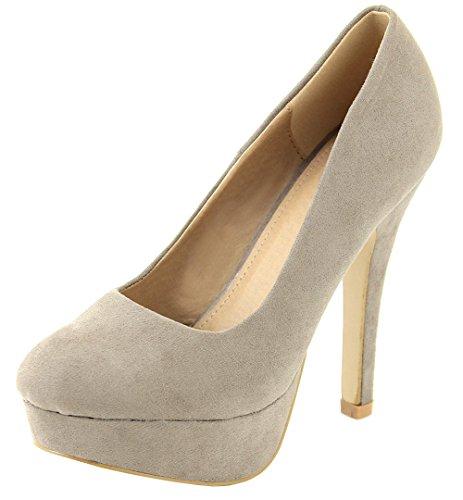 Bella Heel Taupe Pump Women's Classic Platform Marie High Toe Almond 1BqIUBrnW