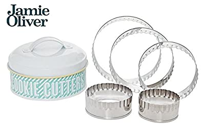 Jamie Oliver Stainless Steel Crimped Cookie Cutter Set with Tin, Set of 5