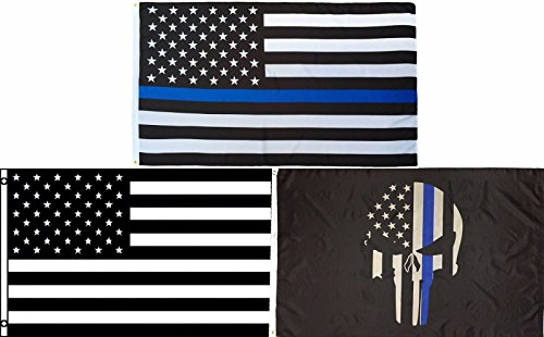 ALBATROS 3 ft x 5 ft Demon Thin Blue Line with USA Memorial with Black White USA Flag for Home and Parades, Official Party, All Weather Indoors Outdoors