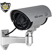 Streetwise Weatherproof Motion Detection LED Fake Security Dummy Camera - Silver