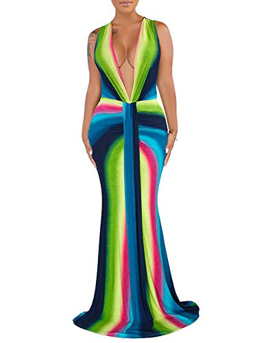 - Women's Deep V-Neck Sleeveless Rainbow Maxi Dresses Sexy Long Evening Party Dresses