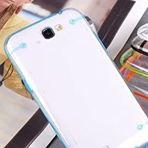 Ultra Thin Transparent TPU Hard Bumper Case Cover For Samsung Galaxy Note II 2 Blue