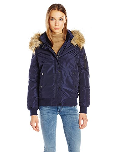 Madden Girl Women's Hooded Bomber Jacket, Navy, XS (Navy Blue Kids Flight Jacket)