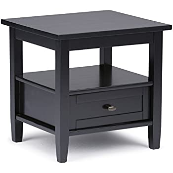 Simpli Home Warm Shaker Solid Wood End Table, Black