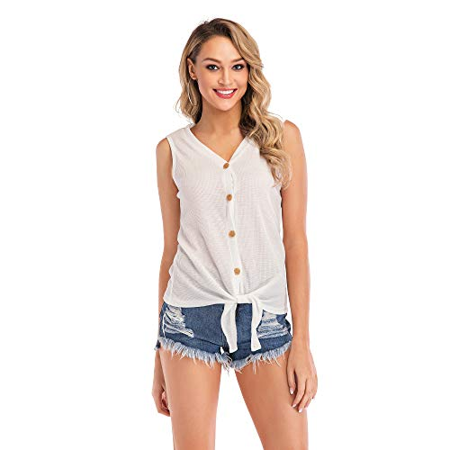Favogirla Sleeveless Pullover Women Casual Tank Tops Lovely Tie Front Henley V Neck Regular Fitted Summer Loose Basic Active Rib Knit Workout Shirts for Leggings,White L