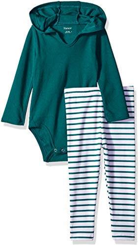 Hanes Ultimate Baby Boys Flexy 2 Piece Set (Pant with Hoodie Bodysuit), Green Stripe, 12-18M