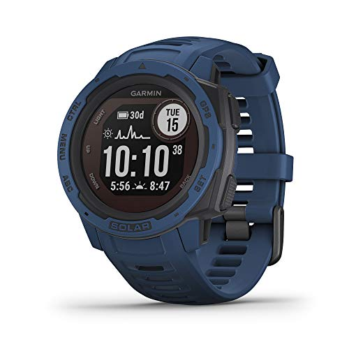Garmin Instinct Solar, Solar-Powered Rugged Outdoor Smartwatch, Built-in Sports Apps and Health Monitoring, Dark Blue