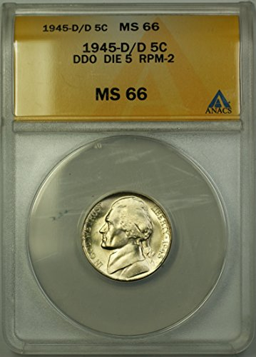 1945 D Jefferson Wartime Silver 5c Coin (RL-A) Double Die Obverse, Die 5, Repunched Mintmark 2 Nickel MS-66 ANACS