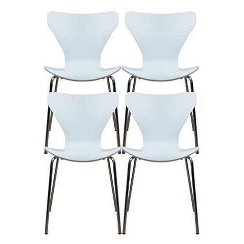 【4脚セット】 ottostyle.jp 北欧家具の代名詞!セブンチェア ホワイト (デザイナーズ アルネヤコブセンデザイン) B00KR6QDW6 ホワイト