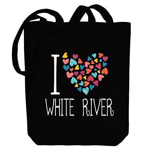 Idakoos I love White River colorful hearts - US Städte - Bereich für Taschen qKqYJZ0