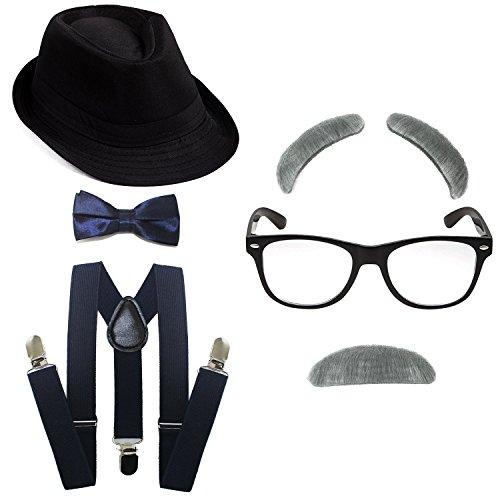 1920's Boys Gangster Costume Set - Short Brim Fedora Hat,Adjustable Suspenders with Pre-Tied Bow Tie, Old Man Eyebrows & Moustache,Nerd Fake Glasses for Kids & Child(Black Hat & Navy-Blue - Fedora Old