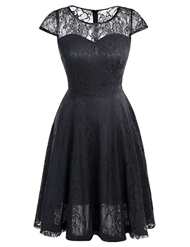 Dresstells Women's Bridesmaid Dress Retro Lace Swing Party Dresses with Cap-sleeves