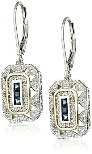 (1 pair Jewelry White CZ 925 Sterling Silver Blue Sapphire Gemstone Drop Dangle)