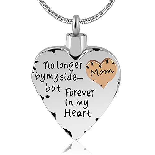 Eternally Loved Unisex No Longer by My Side But Forever in My Heart Dad&Mom Cremation Ashes Urn Pendant Necklace (Mom)