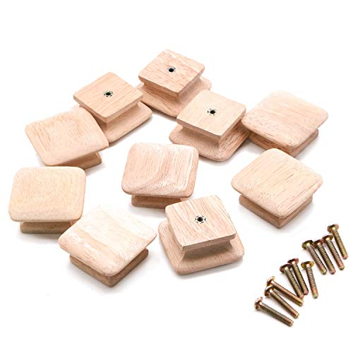 IDS Pack of 10 Square Unfinished Wood Drawer Knobs Pulls Handles for Kitchen Cabinet Furniture