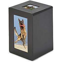 Pidsen Pet Cremation Urn Wooden Memorial Urn Photo Box for Cat Dog (L, Brownish Red)