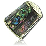 Custom & Collectible {25mm Hgt. x 19mm Dia.} 1 Single, Mid-Size Sewing Thimble Made of Fine-Grade Porcelain Glass w/ Shiny Shimmering Mexican Abalone Stone Abstract Swirl Pattern Design {Multicolor}