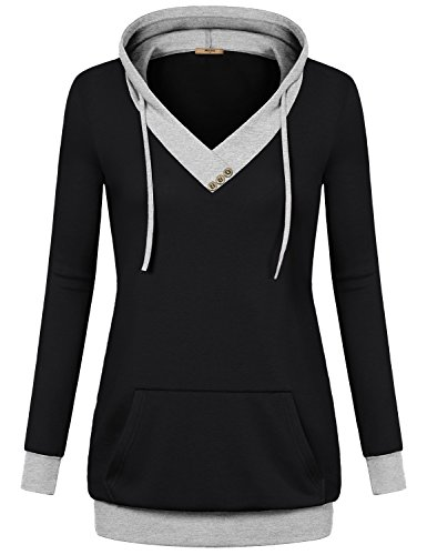 Miusey Business Casual Clothes for Women, Plus Size Fall V-Neck Long Sleeve Pullover Sweatshirt Hoodies with Kangaroo Pocket Black Medium by Miusey (Image #4)