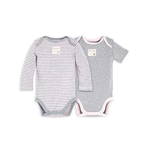 Burt's Bees Baby Baby Bodysuits, 2-Pack Organic Cotton Short & Long Sleeve One-Pieces, Grey & Blossom Stripe, 24 Months (Baby One Piece Bodysuit)