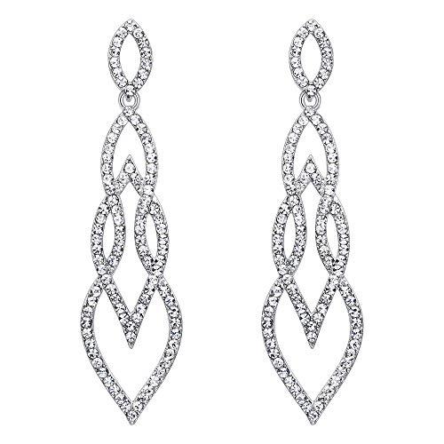 Fancy Chandelier Pierced Earrings - Flyonce Women's Crystal Wedding Fancy Interlocking Leaf Drop Chandelier Earrings Clear Silver-Tone