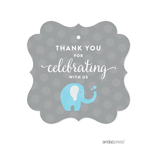 Andaz Press Boy Elephant Baby Shower Collection, Fancy Frame Gift Tag, Thank You for Celebrating with Us!, 24-Pack