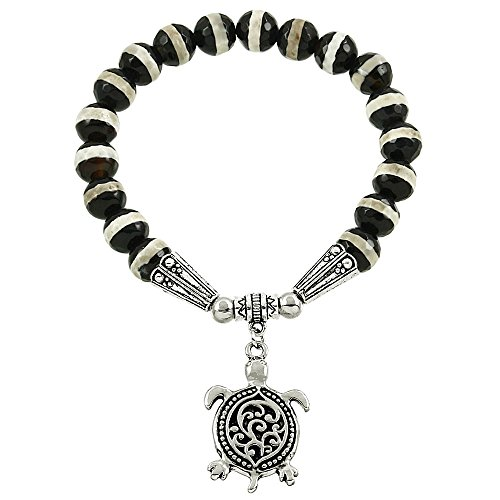 Falari Turtle Lucky Charm Natural Gemstone Bracelet Zebra Marble (Turquoise Gum Gems compare prices)