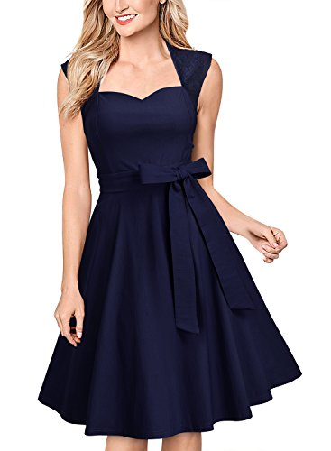 MissMay Women's Vintage Lace Contrast Sleeveless Elegant Sexy Flare Swing Dress Navy Blue Large