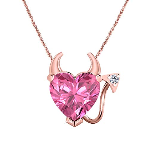 (DS Jewels Women's 14k Gold Plated Alloy 1.50 CT Heart Cut Created Pink Sapphire Devil Heart Shaped Pendant 18 Inches Chain Necklace)