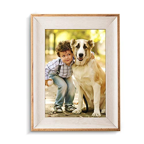 Moone 5x7 Natural Wood Picture Frames with Easels - Made for Wall and Tabletop Display Photo Frames - White Finish