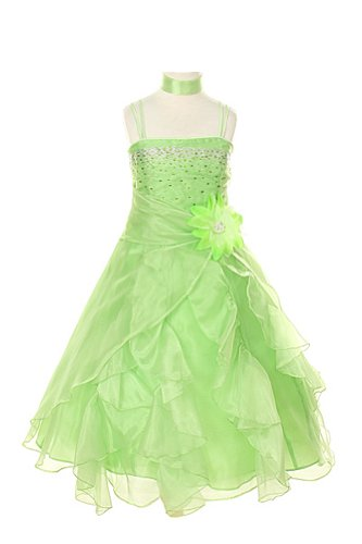Cinderella Couture Girls Cascading Crystal Organza Rhinestone Party Dress Lime 14