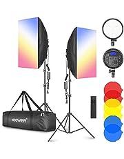 """Neewer Kit de iluminación LED Softbox con filtro de color - Paquete de 2 Softbox de 20 """"× 28"""", cabezal de luz LED regulable 3200-5600K 48W, control remoto de 2.4GHz, soporte de luz y filtro rojo / amarillo / azul para video de estudio fotográfico"""