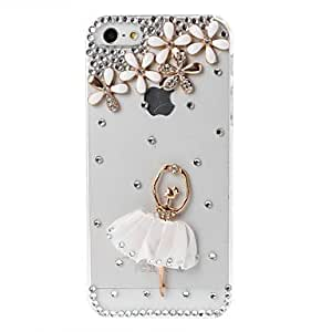 BuW DIY 3D Ballet Girl and Flowers Pattern with Rhinestone Plastic Hard Case for iPhone 5/5S, iphone 5s cases, iphone 5 cases, iphone cases, iphone 5s case, 5s cases, iphone 5s covers