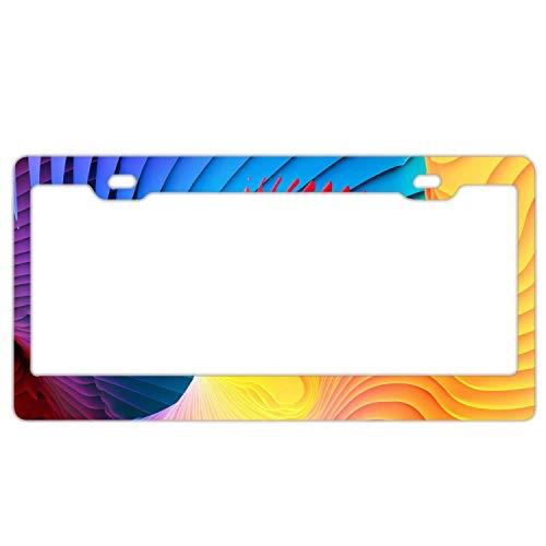 Rainbow Tie Dye Lines Metal License Plate Frame Screw Caps Tag ()