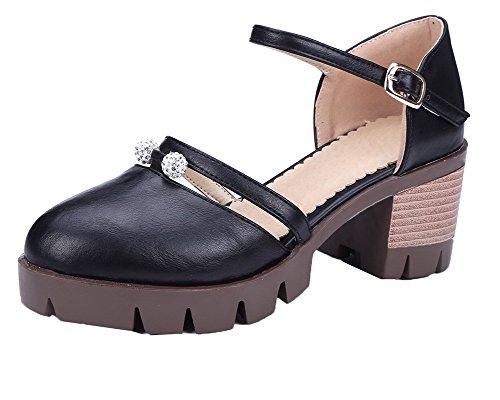 CCAFLO013823 Fermeture Noir Talon Boucle Correct Sandales à d'orteil Femme VogueZone009 Sqxa8w1S