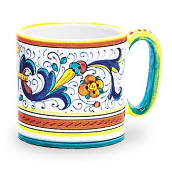 Hand Painted Ricco Mug - Handmade in - Deruta Coffee
