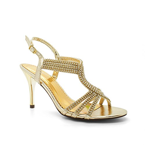 Damen Heels High Diamante Footwear Gold London Anouska Sandalen 4Hgq7CE