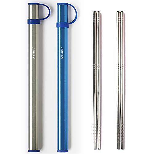 Xthel 2 Pairs Reusable Metal Chopsticks With Aluminium Case (Titanium Grey & Sapphire)